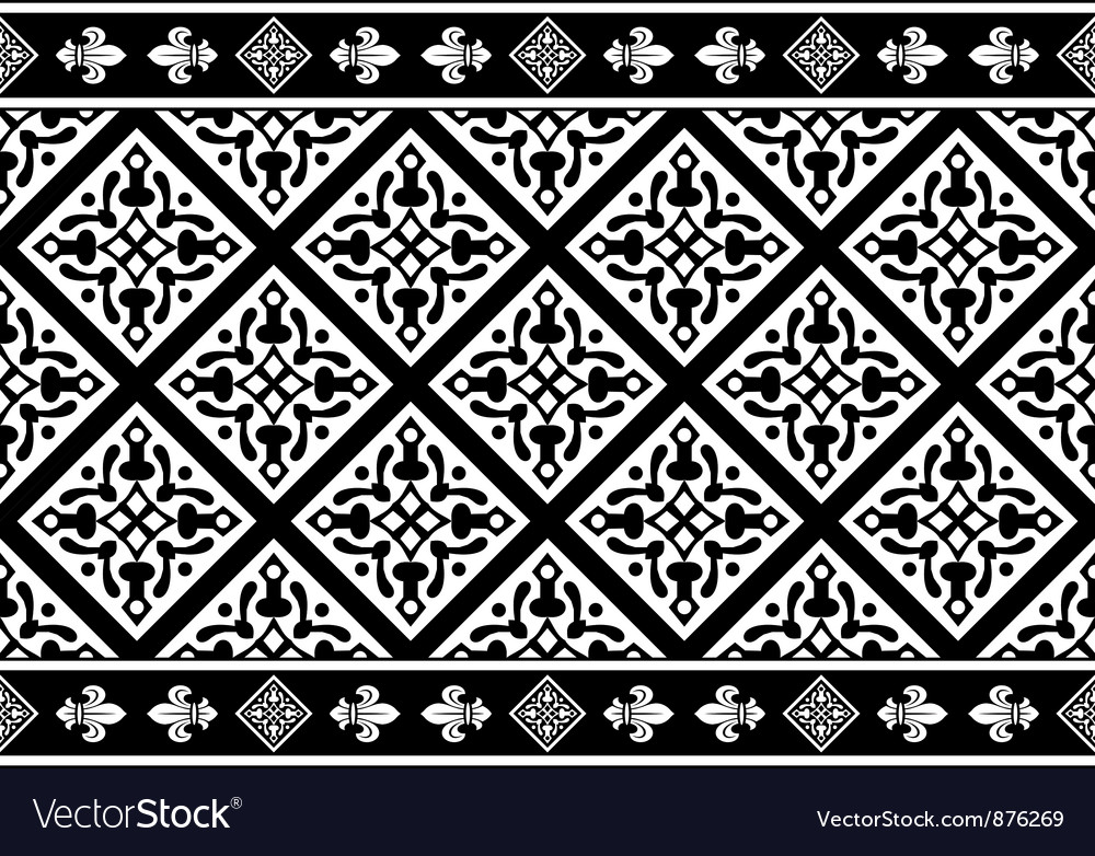Seamless black-and-white gothic floral texture vector | Price: 1 Credit (USD $1)