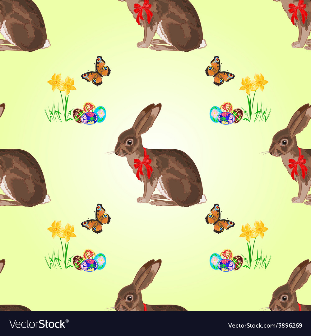 Seamless texture easter hare with butterflies vector | Price: 1 Credit (USD $1)