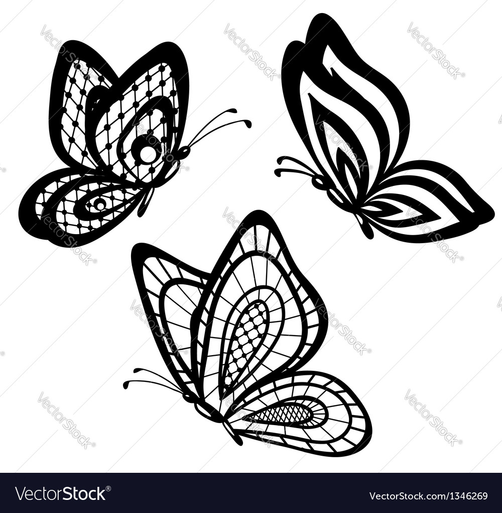 Set of beautiful black and white guipure lace butt vector | Price: 1 Credit (USD $1)