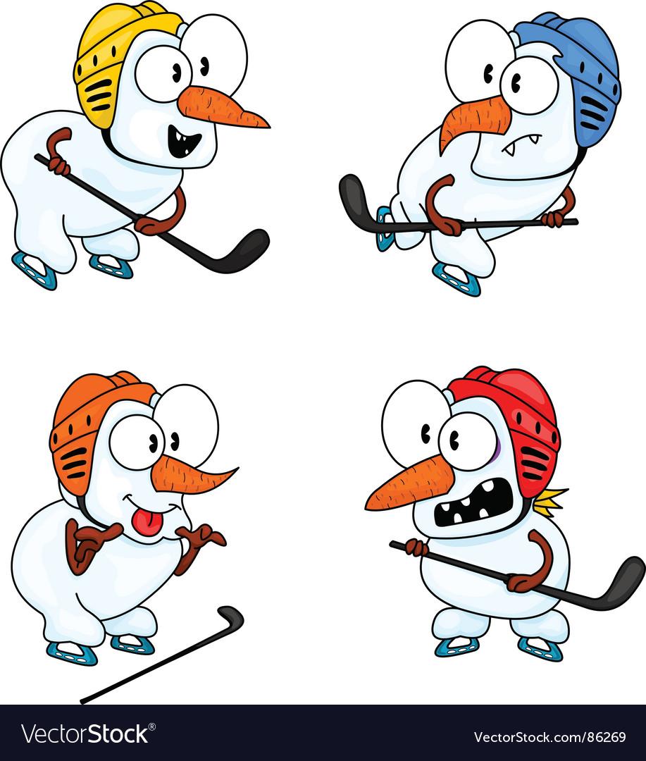 Snowmen play hockey vector   Price: 1 Credit (USD $1)