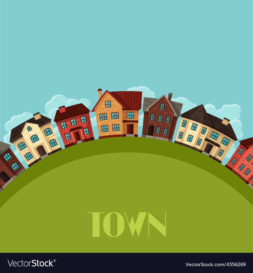 Town background design with cottages and houses vector | Price: 1 Credit (USD $1)