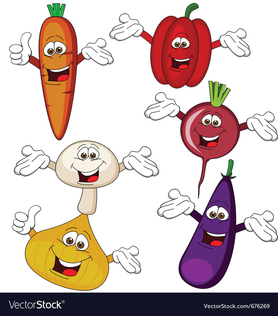 Vegetable cartoon character vector | Price: 3 Credit (USD $3)