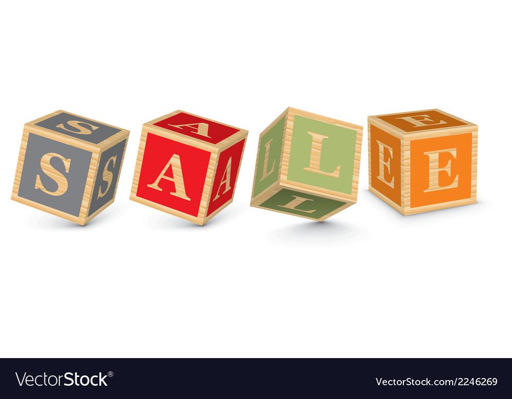 Word sale written with alphabet blocks vector   Price: 1 Credit (USD $1)