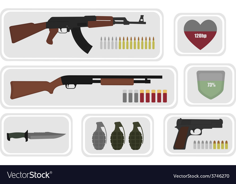 Army game resource set no outline vector | Price: 1 Credit (USD $1)