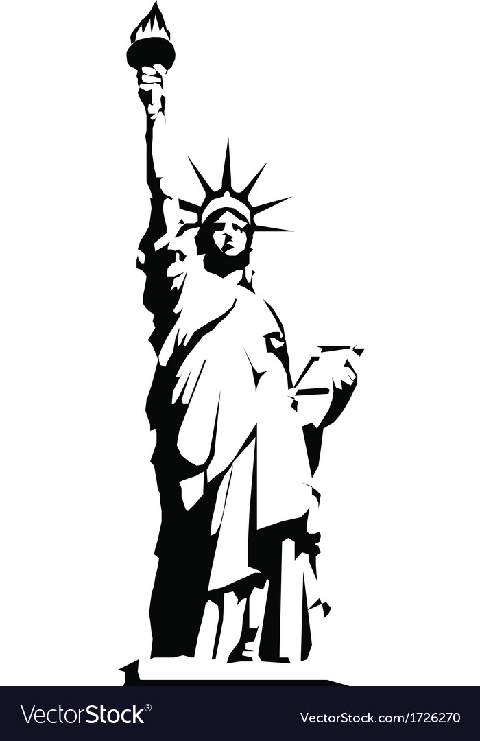 Black silhouette of the statue of liberty vector | Price: 1 Credit (USD $1)