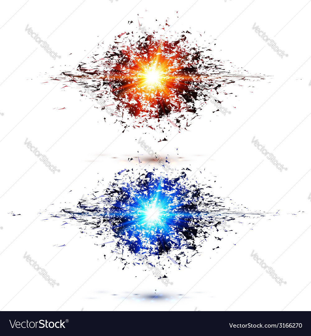 Blue and red techno style explosions vector | Price: 1 Credit (USD $1)