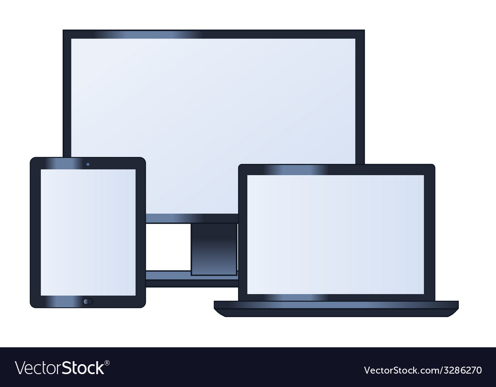 Computer monitor laptop and tablet vector | Price: 1 Credit (USD $1)