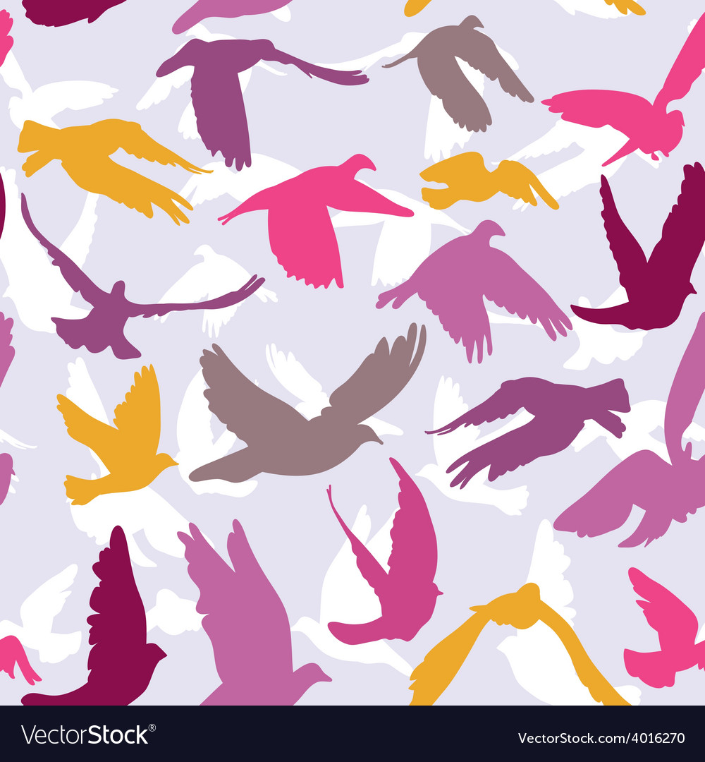Doves and pigeons seamless pattern on lilak vector | Price: 1 Credit (USD $1)