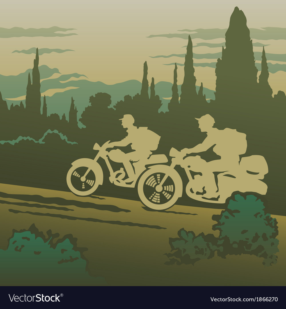 Motorcyclists travelling vector | Price: 1 Credit (USD $1)