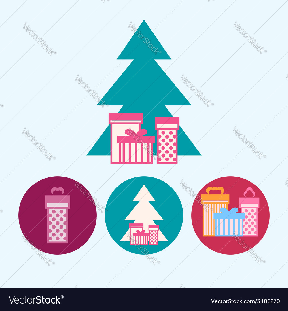 Set icons with gift boxeschristmas tree vector | Price: 1 Credit (USD $1)