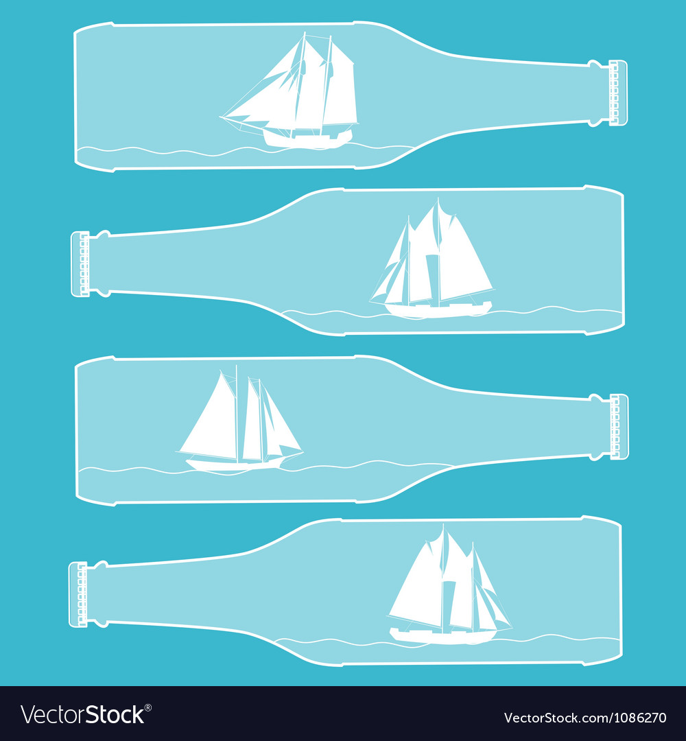 Ships in bottles vector | Price: 1 Credit (USD $1)