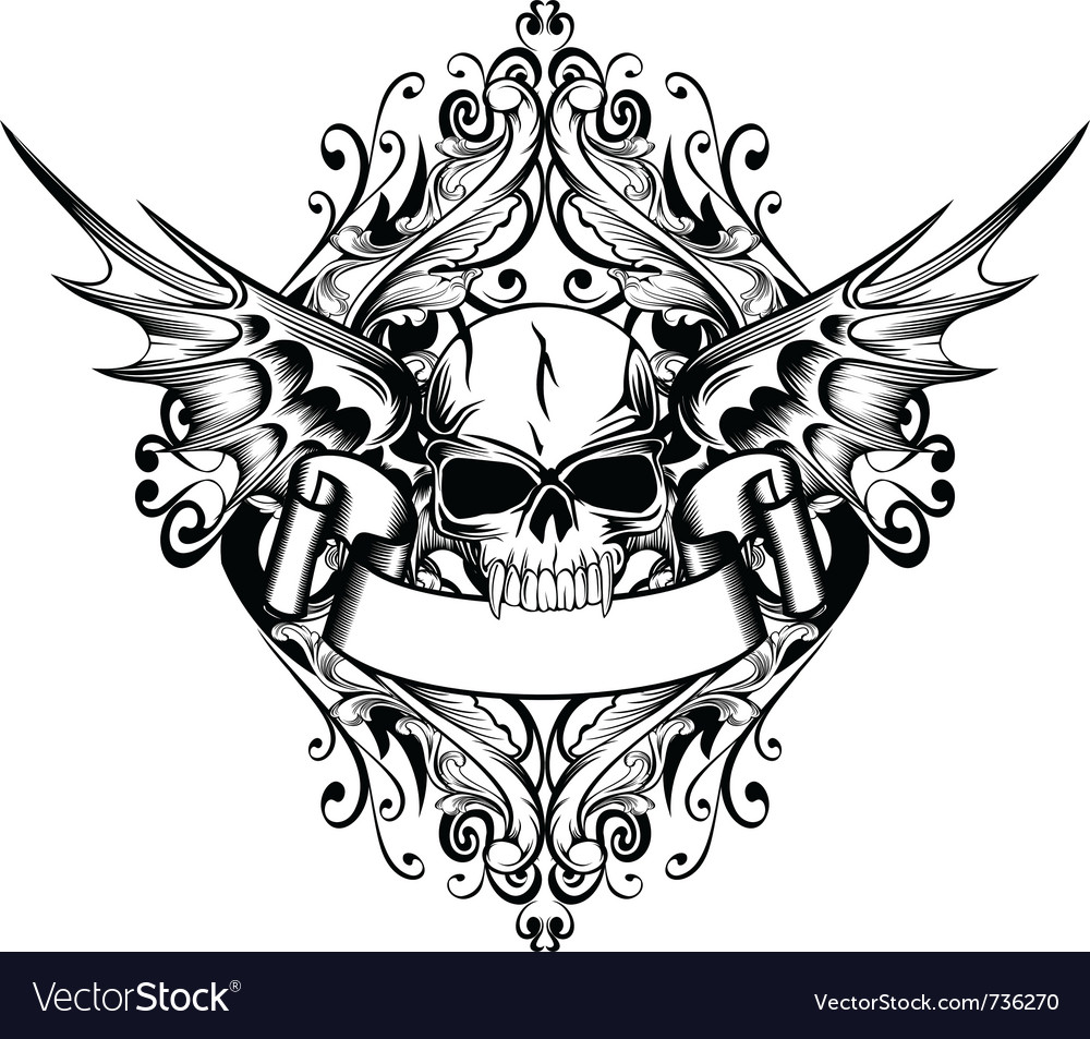 Skull with wings 4 vector