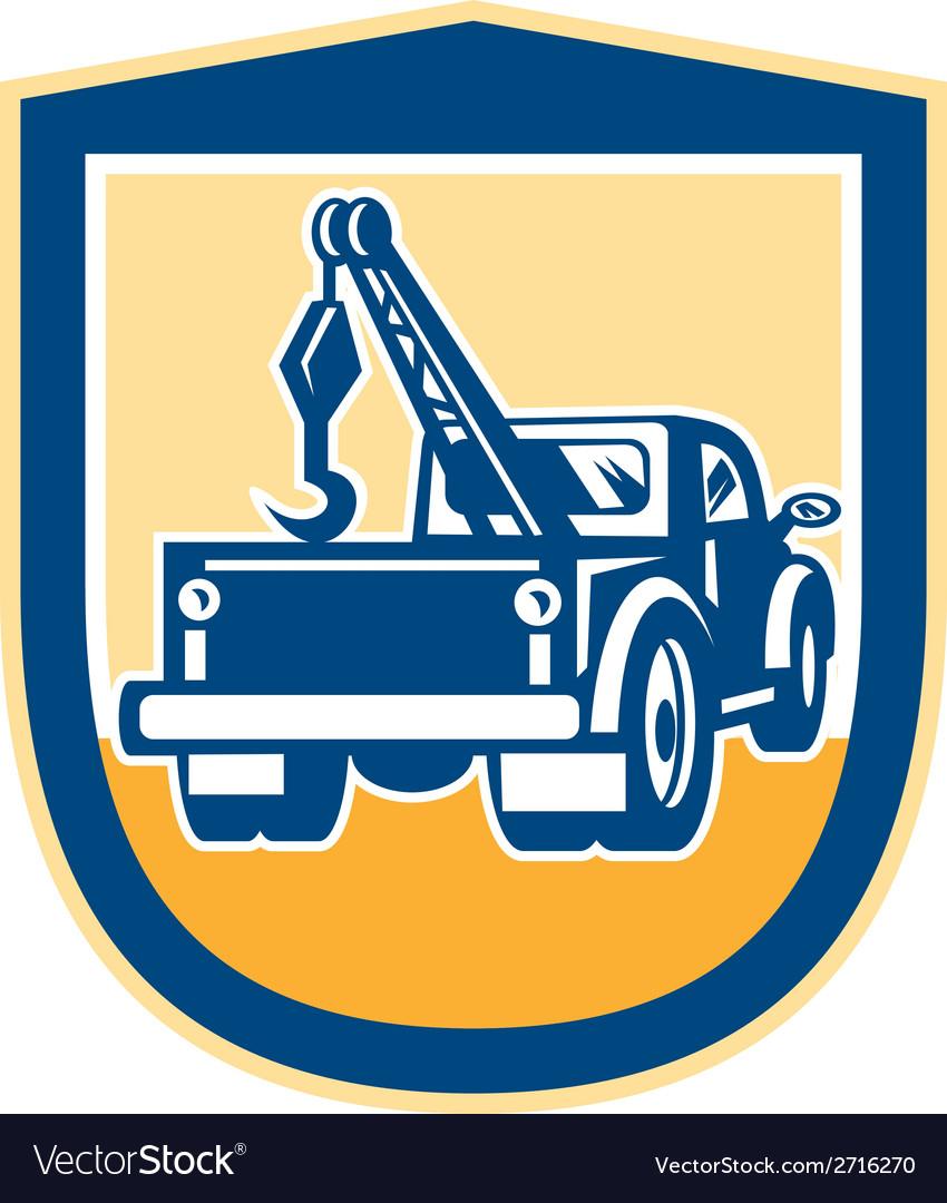 Tow truck wrecker rear shield retro vector | Price: 1 Credit (USD $1)