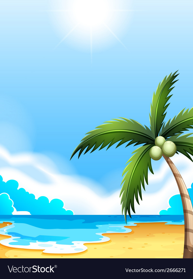 A beach with a coconut tree vector | Price: 1 Credit (USD $1)