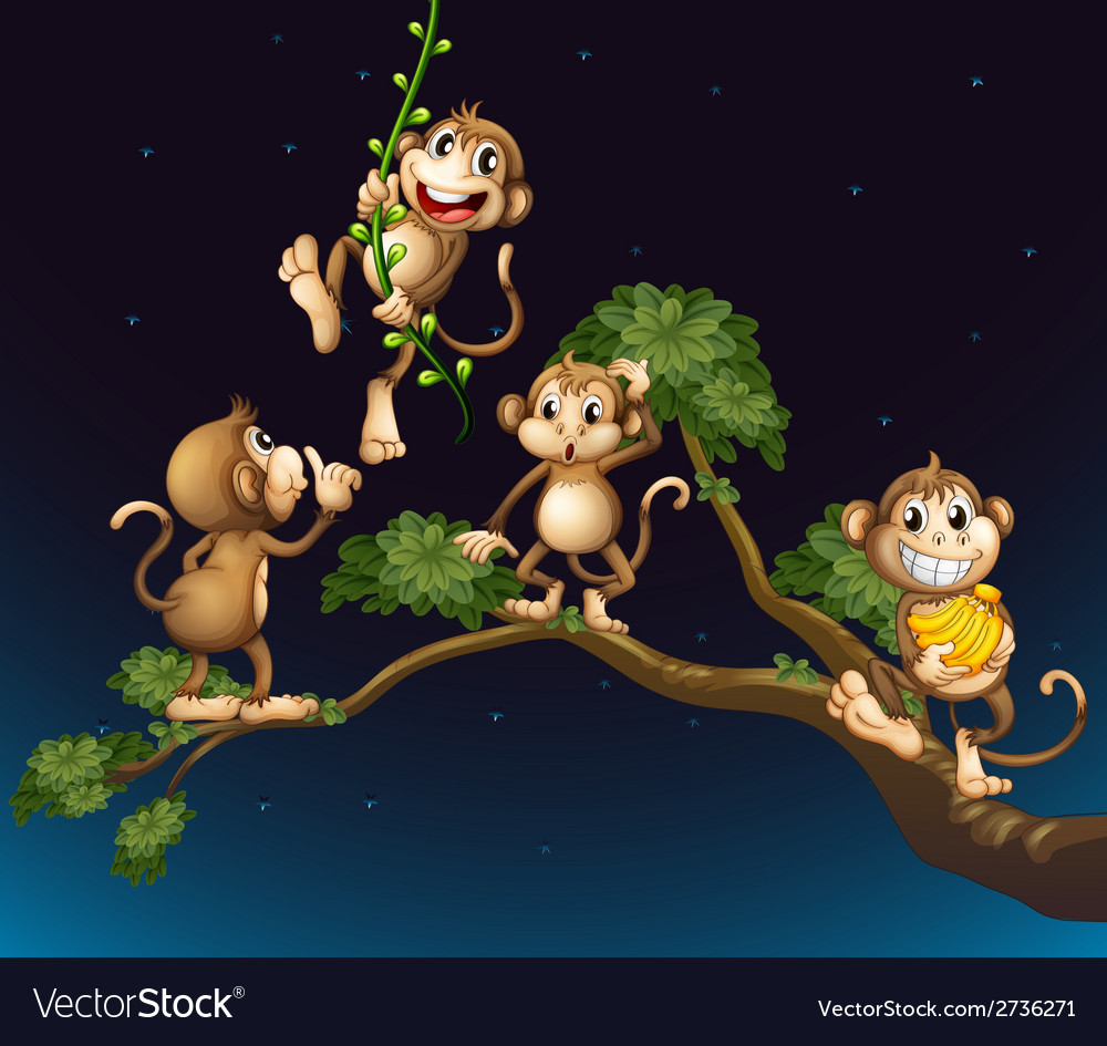 A tree with four playful monkeys vector   Price: 1 Credit (USD $1)