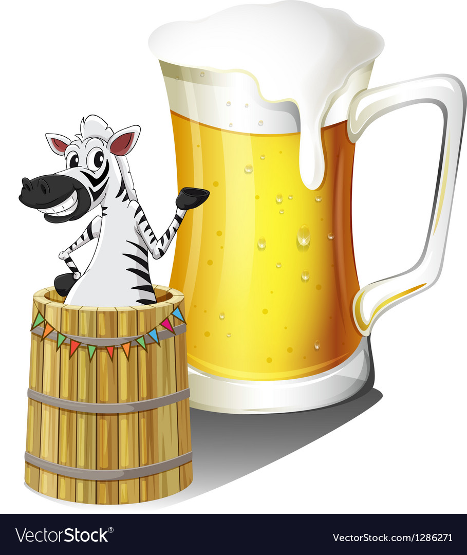 A zebra inside a wooden container with a glass of vector | Price: 1 Credit (USD $1)