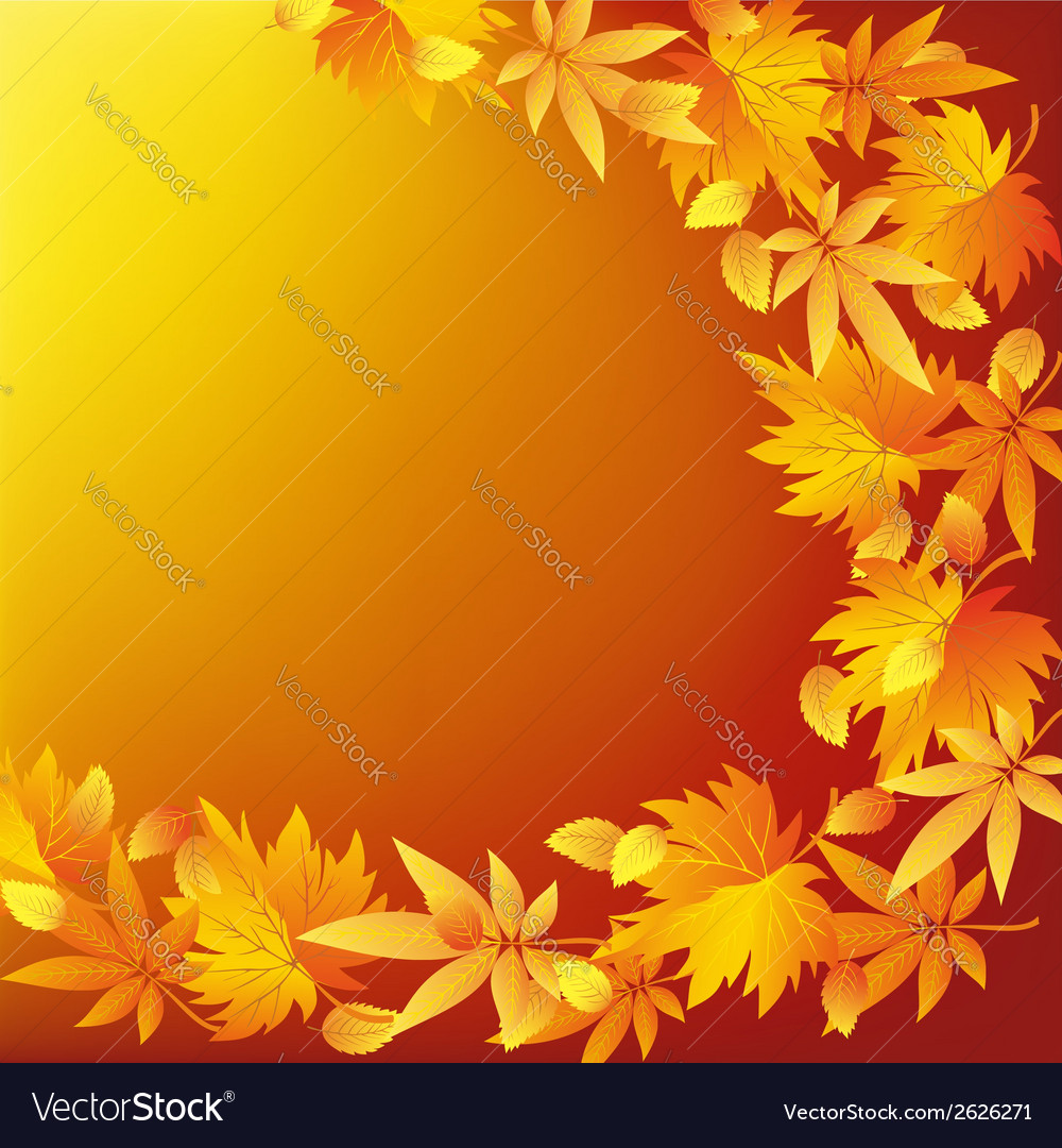 Abstract nature yellow background with leaf fall vector | Price: 1 Credit (USD $1)