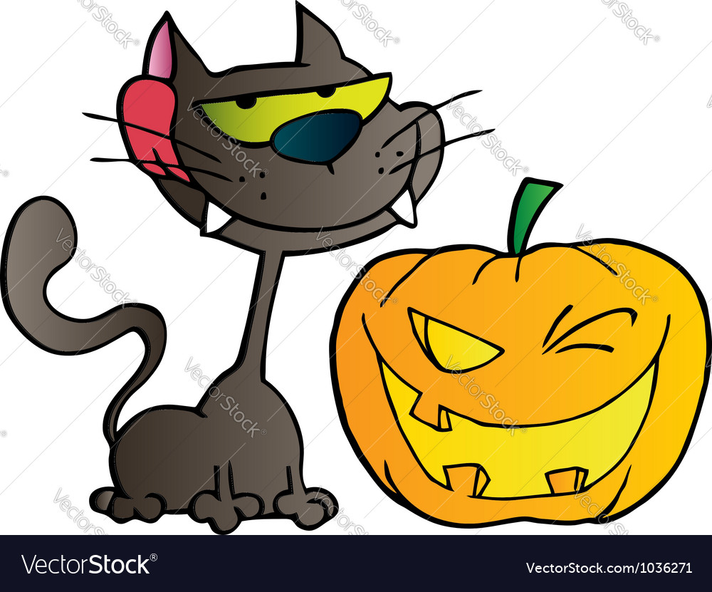 Black cat and winking halloween pumpkin vector | Price: 1 Credit (USD $1)