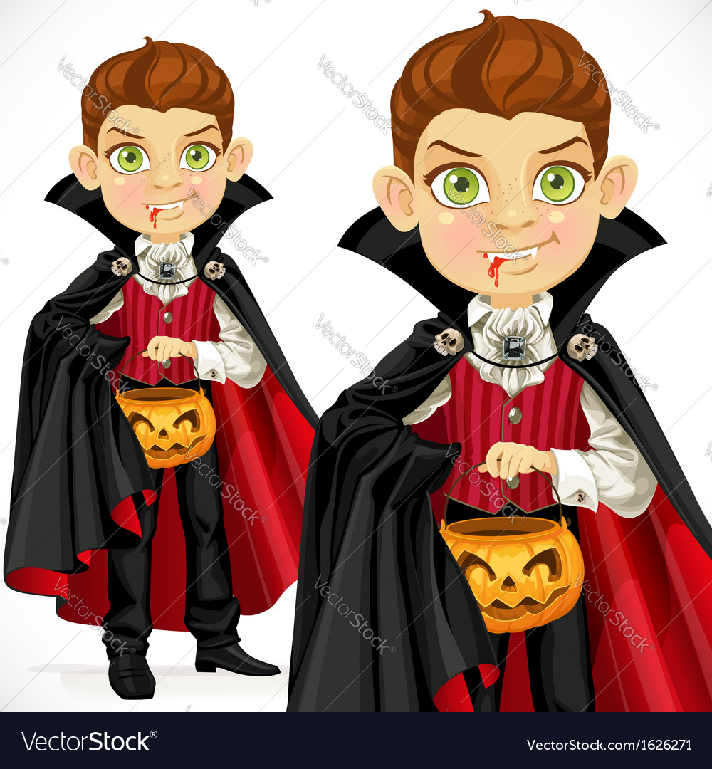 Boy dressed as a vampire with a basket for sweets vector | Price: 3 Credit (USD $3)