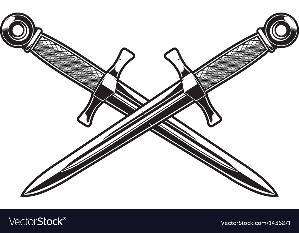 Crossed dagger vector | Price: 1 Credit (USD $1)