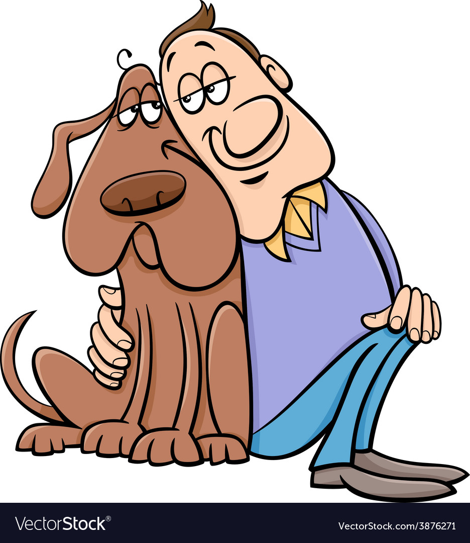 Dog with his owner cartoon vector | Price: 1 Credit (USD $1)