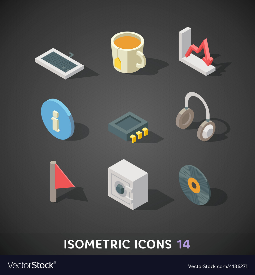 Flat isometric icons set 14 vector