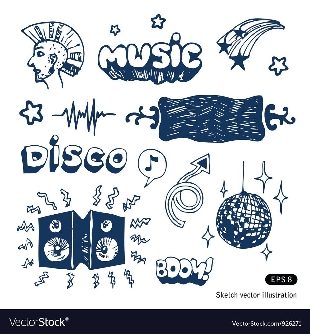 Music elements set vector | Price: 3 Credit (USD $3)