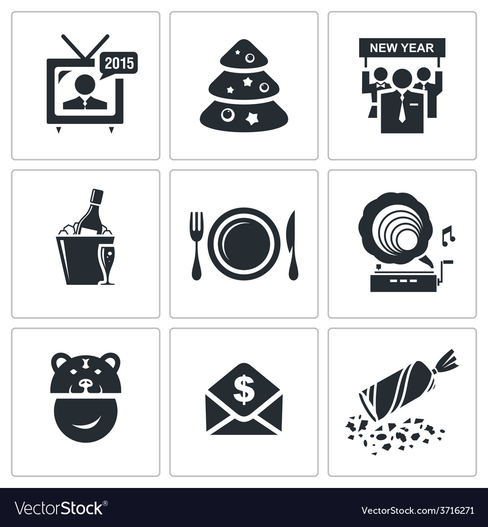 New year corporate icons set vector | Price: 1 Credit (USD $1)