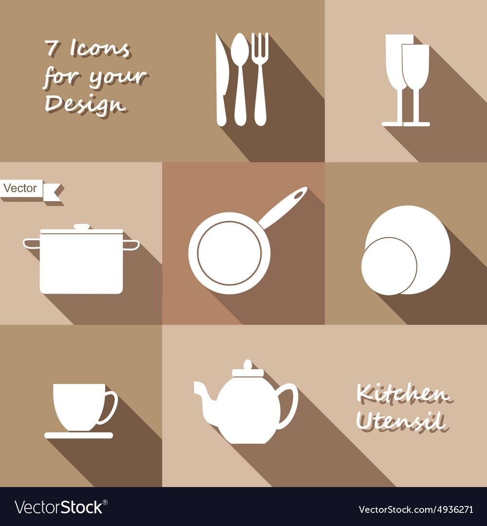 Seven monochrome icons of kitchen utensil vector