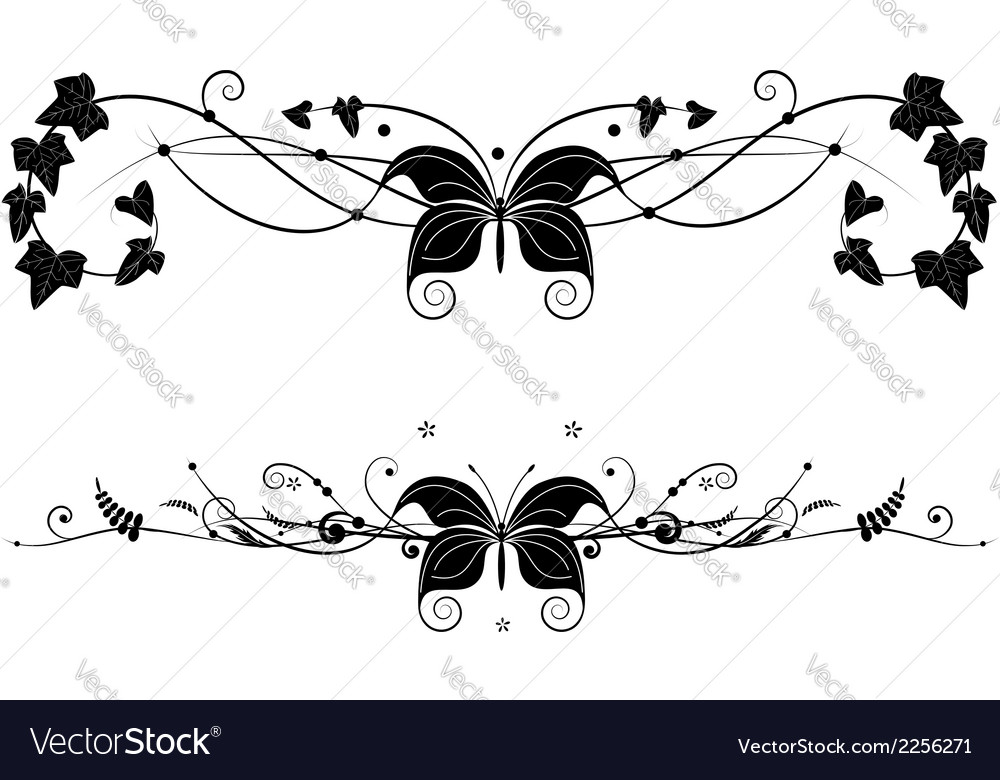 Vignette set with butterfly vector | Price: 1 Credit (USD $1)