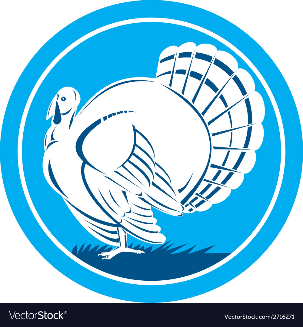Wild turkey side view circle retro vector | Price: 1 Credit (USD $1)
