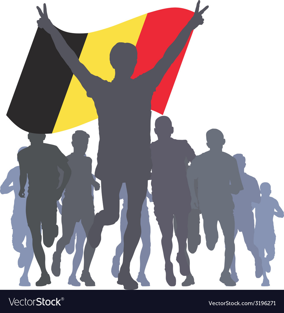 Winner with the belgium flag at the finish vector | Price: 1 Credit (USD $1)