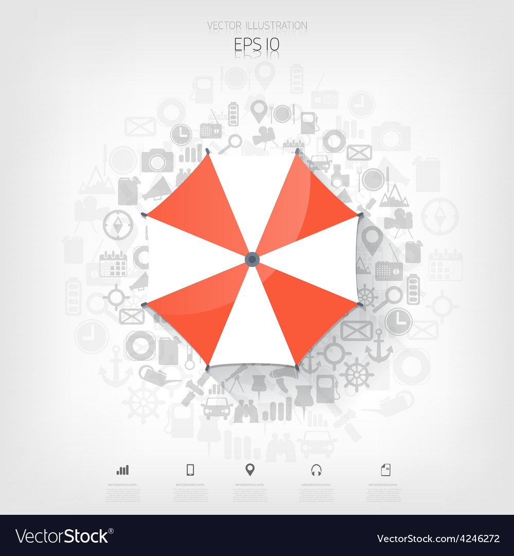 Beach umbrella web flat icon background wit vector | Price: 1 Credit (USD $1)