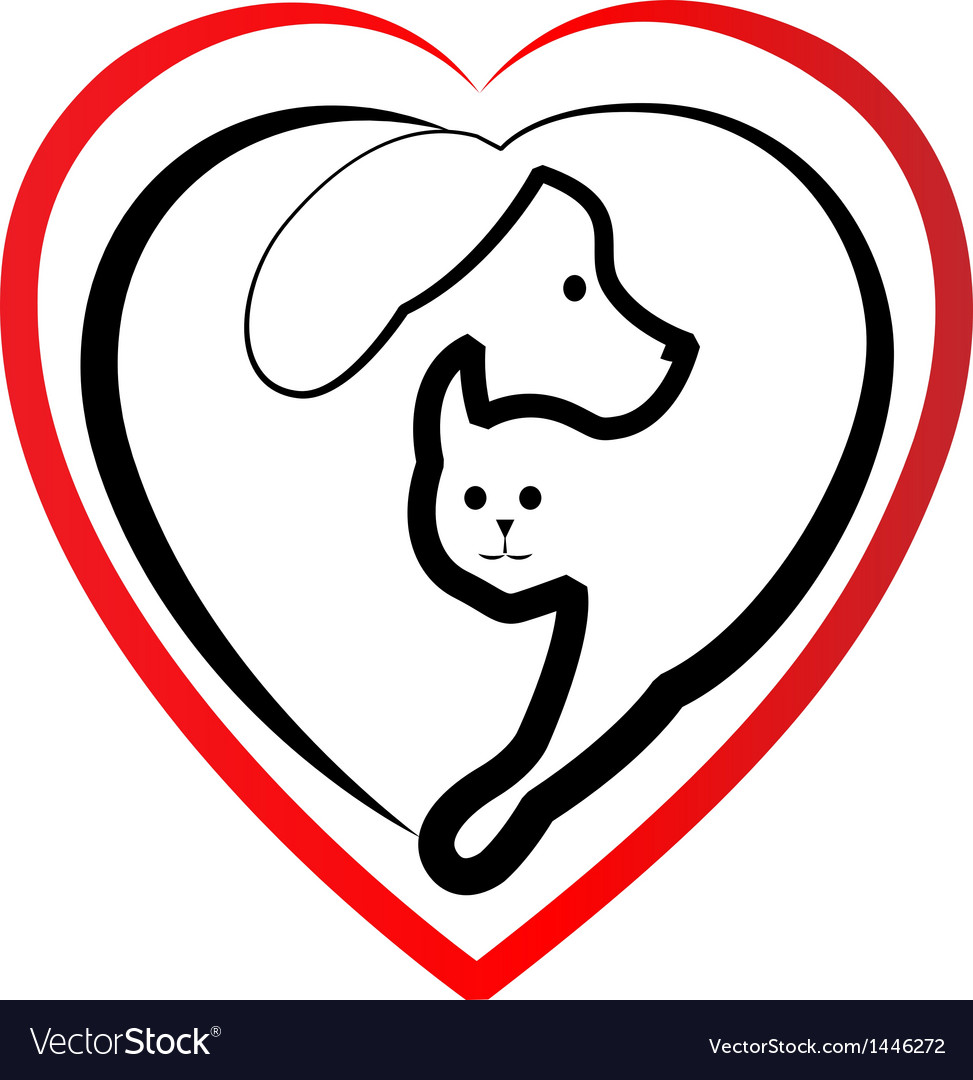 Cat and dog heart silhouette logo vector   Price: 1 Credit (USD $1)