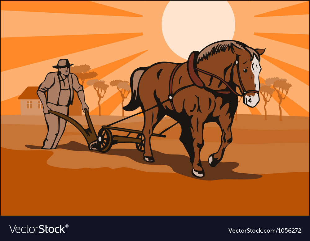 Farmer and horse plowing farm retro vector | Price: 1 Credit (USD $1)