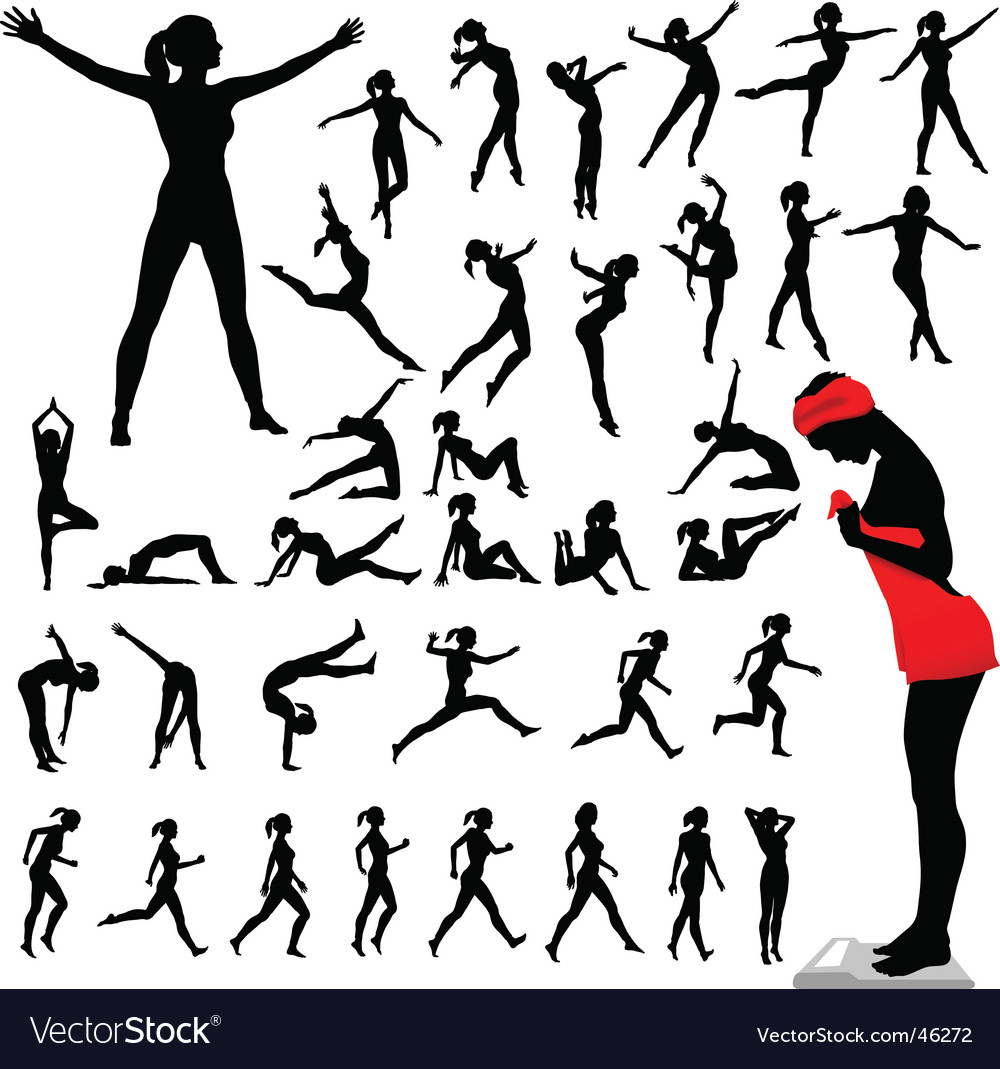 Fitness women calisthenics aerobics dance vector | Price: 1 Credit (USD $1)