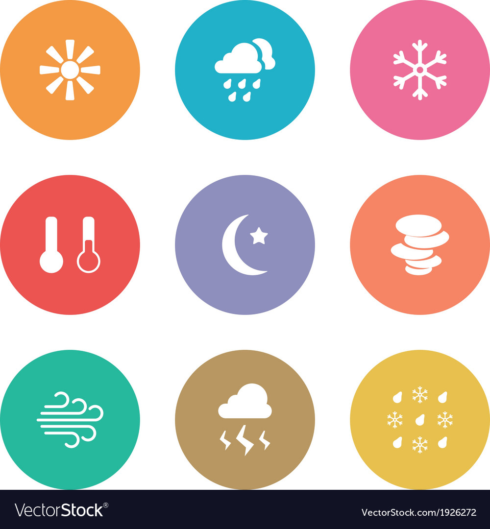 Flat design style weather icons vector | Price: 1 Credit (USD $1)