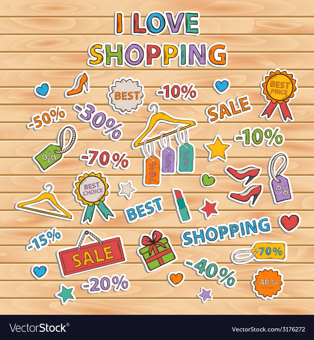I love shopping setscrapbook setsticker vector | Price: 1 Credit (USD $1)