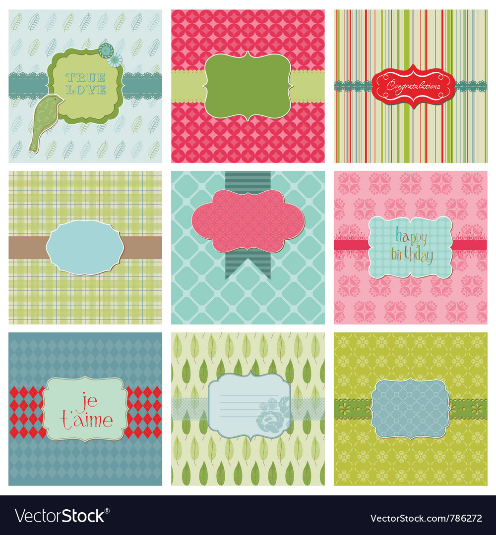 Set of beautiful cards vector | Price: 1 Credit (USD $1)