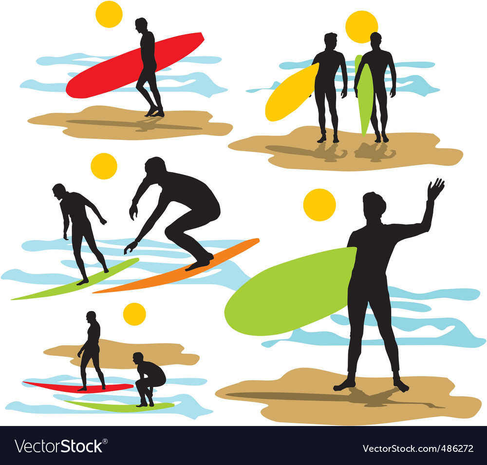 Set surfers silhouettes vector | Price: 1 Credit (USD $1)