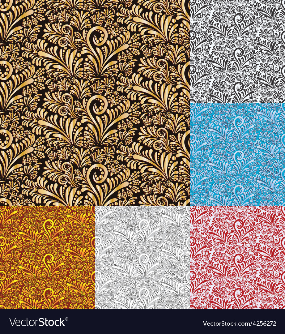 Six floral seamless pattern background vector | Price: 1 Credit (USD $1)