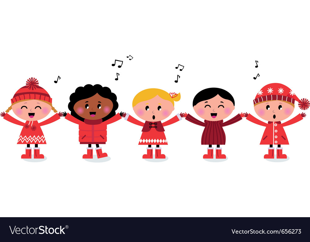 Caroling multicultural kids vector | Price: 1 Credit (USD $1)