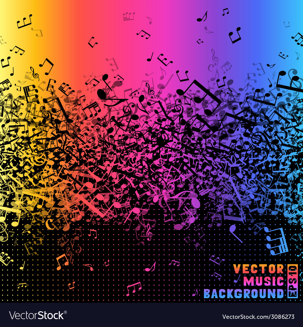 Colourful music notes on black background vector | Price: 1 Credit (USD $1)