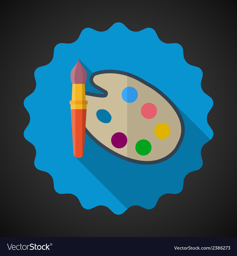 Designer color pallete flat icon with long shadow vector | Price: 1 Credit (USD $1)