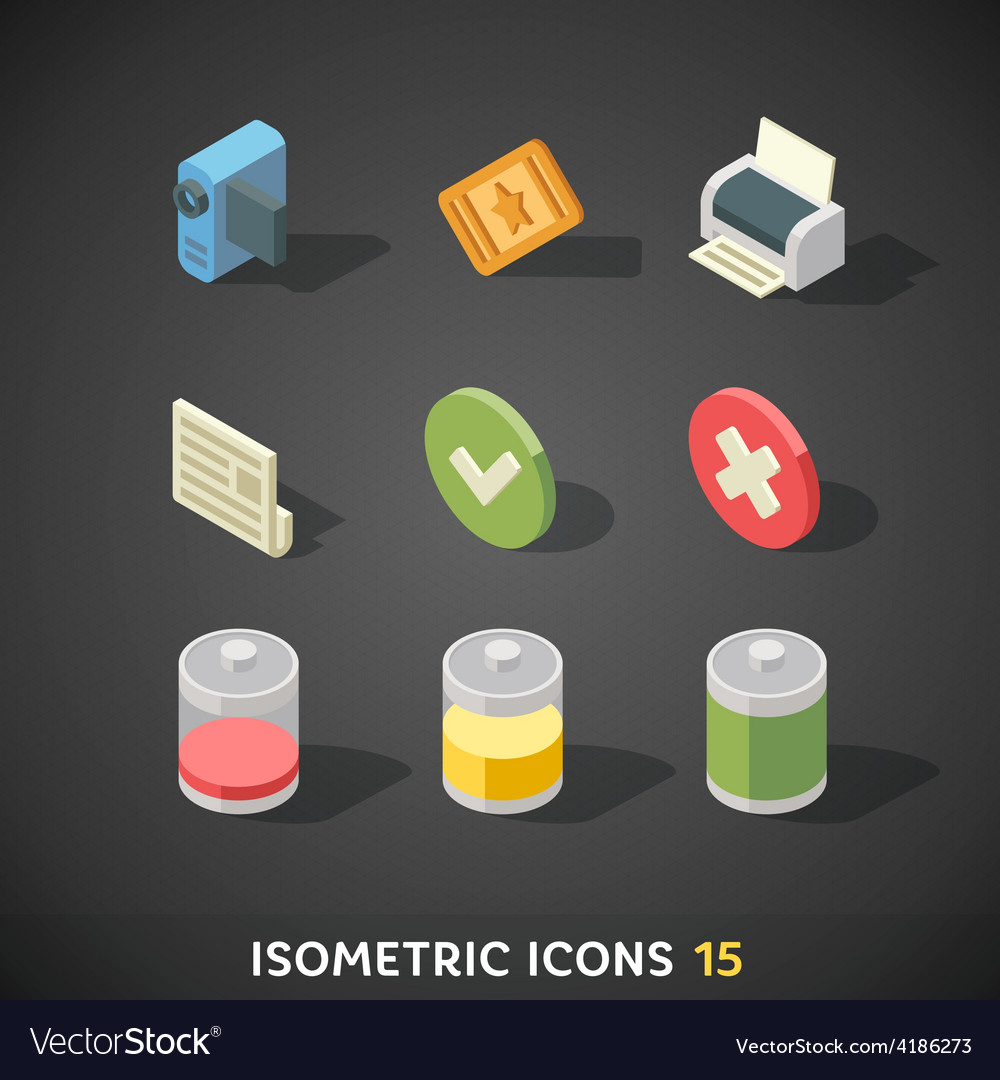 Flat isometric icons set 15 vector