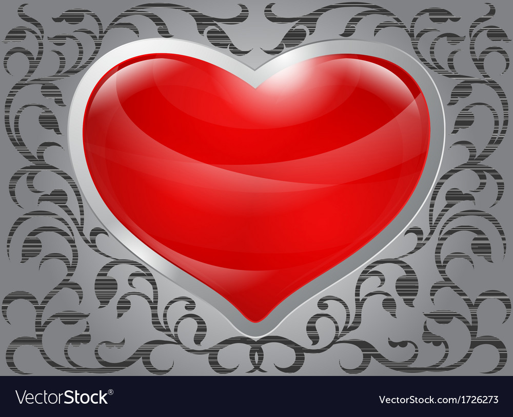 Glossy red heart with pattern on steel background vector | Price: 1 Credit (USD $1)