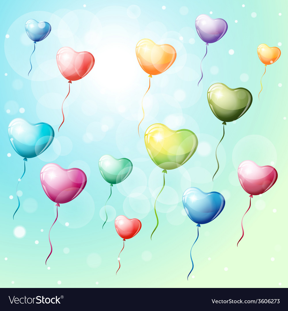 Heart shaped colorful balloons vector   Price: 1 Credit (USD $1)