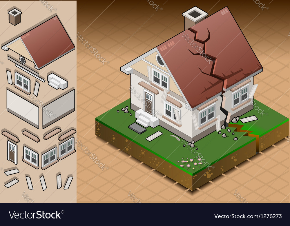 House struck by earthquake vector | Price: 1 Credit (USD $1)