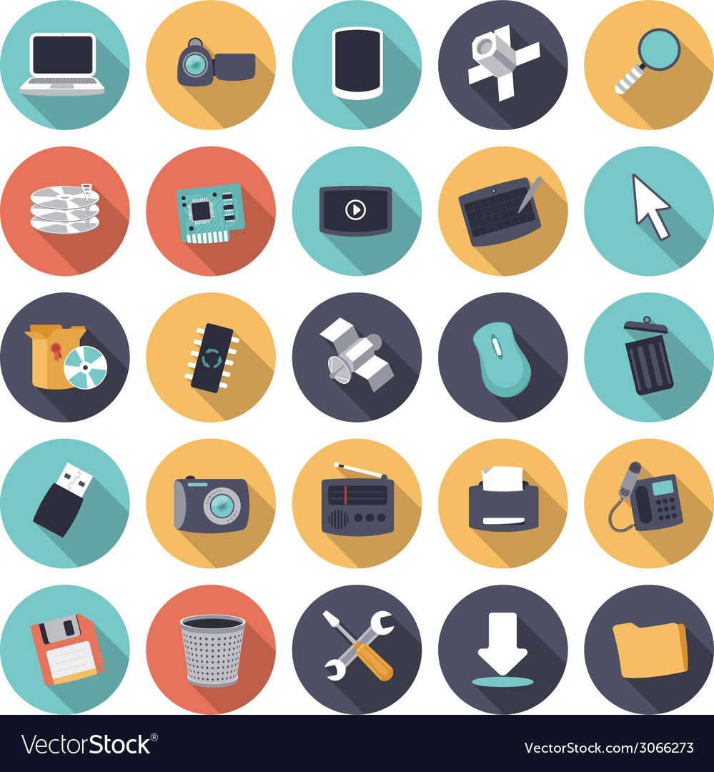 Icons flat colors technology vector | Price: 1 Credit (USD $1)