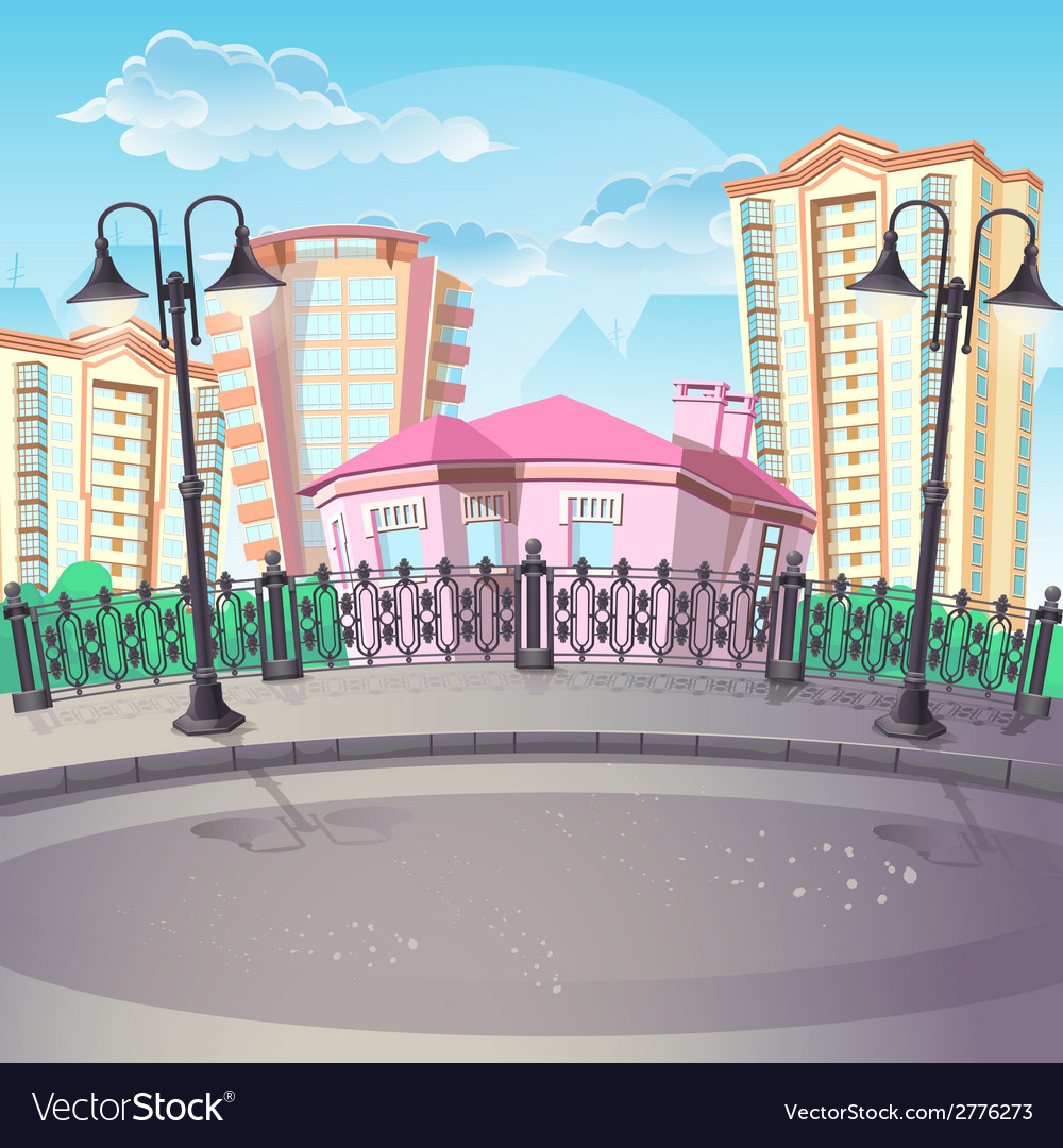 Image of city quay with lanterns vector | Price: 1 Credit (USD $1)